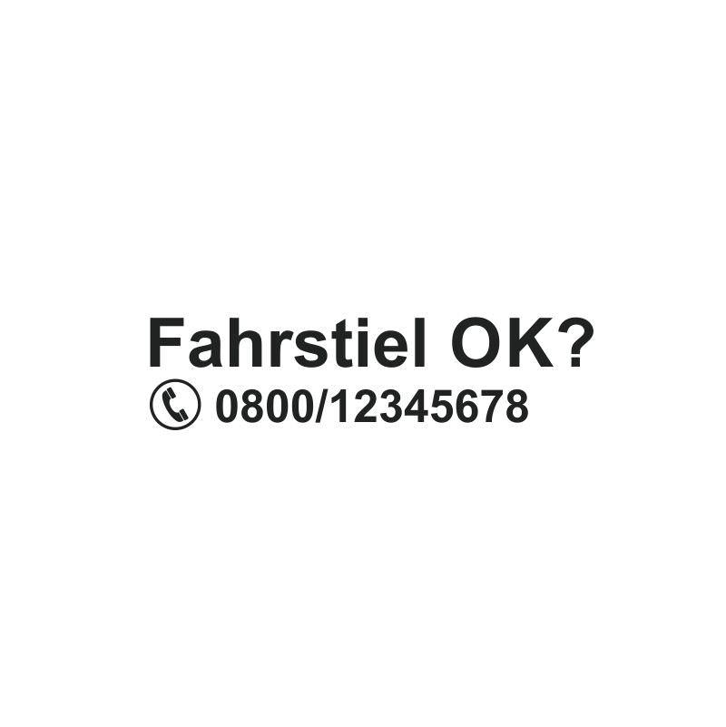 Fahrstiel OK Aufkleber mit Wunschrufnummer